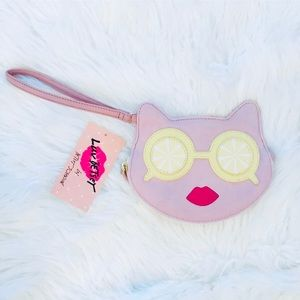 Betsey Johnson Lemon eyes kitty wristlet. 😍